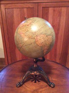 So lets examine a globe: 1930 Weber Costello 8 inch globe Vintage Globe, Vintage Maps, Latitude Longitude, World Globes, Cartography, Compass, Astronomy, Tin, Aesthetics