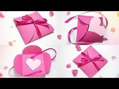 Paper gift box love diy tutorial making easy ideas/valentine love heart& Envelope secret message - YouTube