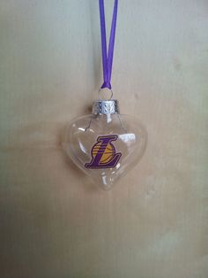 Los Angeles Lakers Clear handmade glass Christmas ornament