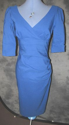 Catwalk,ladies,size 12,blue,no pattern,calf lth,v neck,3/4 sleeved,formal,Dress.