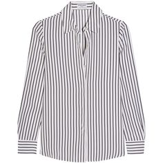 FrameLe Classic Striped Silk Crepe De Chine Shirt (£180) ❤ liked on Polyvore featuring tops, white, silk shirt, striped top, frame denim, silk top and striped shirt
