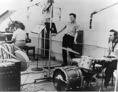 """Elvis Presley recorded tunes for the """"Jailhouse Rock"""" soundtrack in Hollywood Soundtrack, Rock And Roll, Wild In The Country, Scotty Moore, Gretsch Drums, Young Elvis, Jailhouse Rock, Vintage Drums, Elvis Presley Photos"""