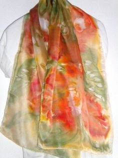 1..Silk scarf Hand painted  140x45cm  --55x17  orange,  greenHand Painted Scarf. Women . Gift for Her. Dragonflies Shawl for Dress.