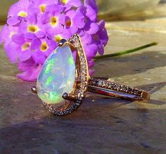 Opal and Diamond Ring, Welo Opal Ring and diamond halo in Rose Gold AleaMariCo, $898