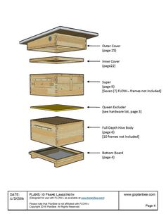10 Frame Langstroth FLOW Hive Design - Easy to Follow DIY Construction Drawings