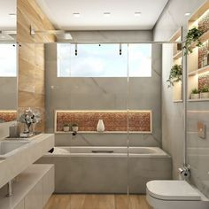 Small Bathroom, Alcove, Bathtub, Container, Houses, Decoration, Bathroom Ideas, Toilet Ideas, Toilet Decoration