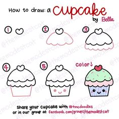 How to Draw a Cute Cupcake. Easy doodle tutorial with Bella at themodestcat.com