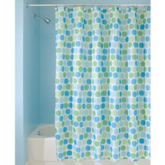 InterDesign Rialto Shower Curtain, Blue And Green, By