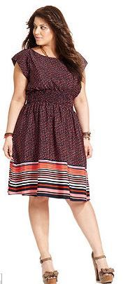 Red and black and blue dress with dots and stripes.