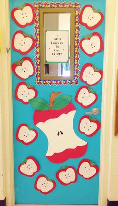 Fall Apple Door. Children made apples using construction paper and black beans…