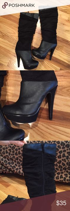 Black heel boots Knee high black leather and suede boots Michael Antonio Shoes Heeled Boots