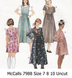 McCall's+7988+Sewing+Pattern+Girl's+Loose+Fitting+Pullover+Dress+in+Two+Lengths+Size+7+8+10++Uncut