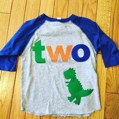 TWO t rex birthday t shirt boys dino by BabyEmbellishments