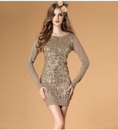 Sequins round neck Slim wool dress  $48.36
