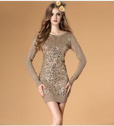 Sequins round neck Slim wool dress  $48.36