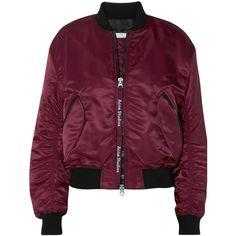 Acne Studios Clea shell bomber jacket ($650) ❤ liked on Polyvore featuring outerwear, jackets, burgundy, blouson jacket, oversized jacket, purple jacket, oversized bomber jacket and burgundy jacket