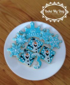 Frozen themed sugar cookies  Snowflake Olaf Crown and number cookies www.facebook.com/CustomByJanet