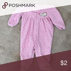 Little Wonders Pink blanket sleeper Adorable pink with white spots blanket sleeper with tan bear face feet, full front zipper with beset cute emblem on left chest Pajamas