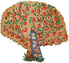 """Amazon.com: [Single Count] Custom and Unique (4"""" x 4.5"""" Inch) """"Nature"""" Classic Outdoor Fall Harvest Blooming Apple Tree w/ Ladder Iron On Embroidered Applique Patch {Orange, Red, Green & Brown Colored}"""