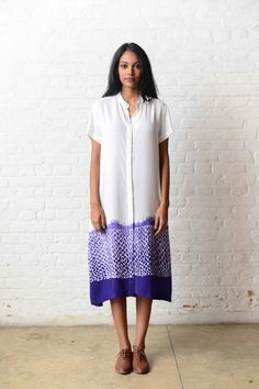 This indigo tie dye shirt dress is best worn for a day outing with your friends. cotton viscose makes the garment very comfortable and drapes nicely. Jumpsuit Dress, Shirt Dress, Cotton Viscose, Kurti, Dresses Online, Indigo, Tie Dye, Short Sleeve Dresses, Summer Dresses