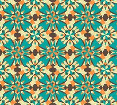 flow of flower to flower to star...Aunt Charlotte Jane. fabric by rhondadesigns on Spoonflower - custom fabric