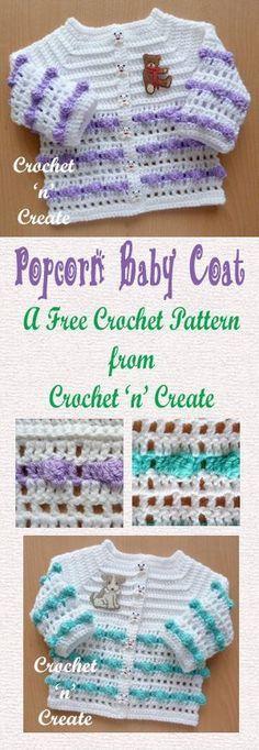 Free crochet pattern for popcorn baby coat.