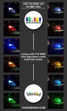 Lampu senja sein variasi mobil motor LED T10 W5W tancap super terang.