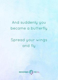 Vlieg maar naar mij. Een quote over het afscheid, het verdriet en het gemis na de dood van een geliefde. Vind meer inspiratie over de uitvaart en rouwen op http://www.rememberme.nl