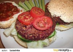 Burgery z červené řepy recept - TopRecepty.cz Raw Vegan, Vegan Vegetarian, Paleo, Salmon Burgers, Hamburger, Food And Drink, Meat, Vegetables, Healthy