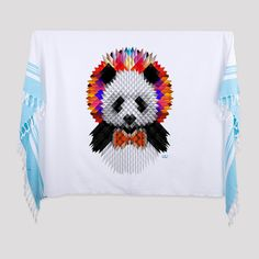 """Panda Printed Turkish Bath/Beach Towel    95cm x185 cm (37""""x72"""")  Made of 100% Turkish cotton    It is an absorbent beach and bath towel, light and small when folded to easily fit into your bag.  It can be worn as a scarf or as a sarong. It can also be used as a table cloth or bedspread at your home.    The traditional bath towel is printed with bold and vivid designs.  İkiiki Design - Illustrated by Ali Güleç 