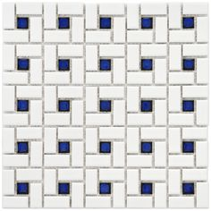 With a clean white and cobalt pattern, this SomerTile porcelain mosaic tile adds a modern look to home or office floors. Measuring 12.5 inches square, this glazed porcelain tile is water resistant and is suitable for indoor and outdoor use.