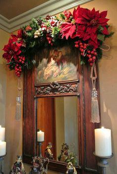 B E christmas deco Christmas Swags, Christmas Mantels, Noel Christmas, Victorian Christmas, Christmas Crafts, Burlap Christmas, Primitive Christmas, Country Christmas, Mery Chrismas