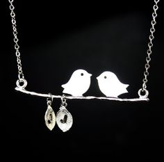 Bird on Branch Necklace  Two Custom Initials Great by smilesophie