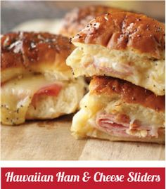 Ham & Cheese Sliders - 1/4 c. brown sugar, 1 1/2 T. Dijon mustard, 1 1/2 T., 3/4 c. butter (melted), Worcestershire sauce, 1 1/2 T. poppy seeds, 1 lb. ham, 1 lb. Swiss cheese, Hawaiian sweet rolls -- 350 2-15 min. covered, & 2 min. uncovered