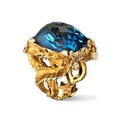 Carrera Y Carrera NANKIN RING CÍRCULOS DE FUEGO COLLECTION Ring in yellow gold, blue topaz and diamonds