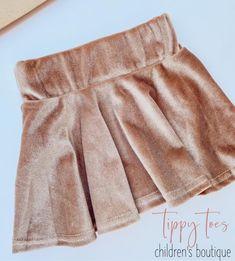 Champagne Velvet Twirl Skirt - 12m