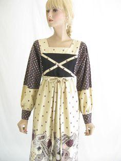 Vintage 70s Boho Folk Dress by TimeBombVintage on Etsy