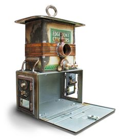 Birdhouse Bird house Repurposed Upcycled Custom Clock Edgemont Crackers Tin Film Strongbox Mailbox Doors Found Objects Metal Recycled OOAK. $395.00, via Etsy.
