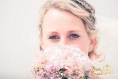 Close-up bruid, make-up, boeket, ogen, sfeervol, mooie bruid, strand