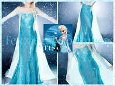 ELSA Disneys Movie Theme Frozen Fancy Dress Womens Costume Cosplay Queen