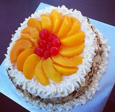 Peach with cherries tres leches cake!