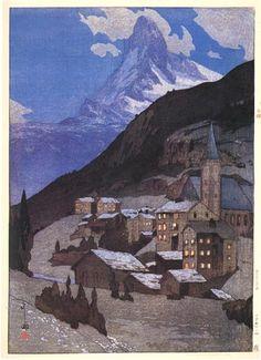 Matterhorn, Night  by Hiroshi Yoshida, 1925