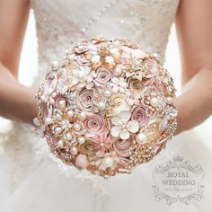 Wedding Bouquet Brooch Bouquet Bridal Bouquet Bridesmaids Bouquet Jeweled Bouquet Blush Pink Bouquet White and Gold Wedding Brooch Bouquet by RoyalWeddingDecore on Etsy