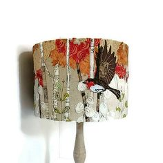 Robin lampshade, embroidered lampshade, table lampshade, flying birds, British garden bird, fall lampshade , autumn shade, bird decor,