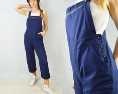 """""""French workwear overalls designed and manufactured by us, based on a vintage classic! Bespoke and unique. Fabric is a high quality softened cotton with adjustable straps and plenty of pockets. Available in classic navy blue or light blue. Perfect for everyday wear but also suitable for gardening/painting/DIY :) Made to last from a high quality and durable cotton fabric. - Straight leg - Flattering fitted high waist cut and rise - Button up either side - Zipped front pocket - Adjustable straps w Workwear Overalls, Dungarees, Work Overalls, Work Wear, Light Blue, Cotton Fabric, Navy Blue, Unisex, Look Cool"""