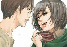 Eren and Mikasa, Attack on Titan/Shingeki no Kyojin Armin, Eren And Mikasa, Best Movie Lines, Connie Springer, Dark Anime Guys, 5 Anime, Anime Art, Eremika, Levi Squad