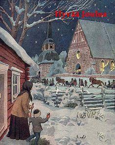 Old Finnish Christmas Cards Swedish Christmas, Old Christmas, Victorian Christmas, Vintage Christmas Cards, Scandinavian Christmas, Retro Christmas, Christmas Greetings, Beautiful Christmas, Xmas