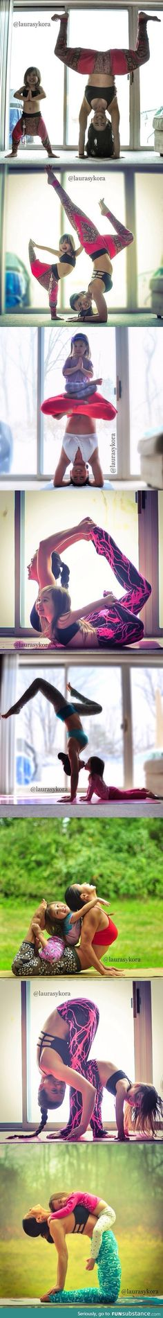 Little girl does yoga poses with her mom..... will be you and your baby one day....