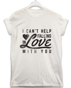 Falling in Love With You - Lyric Quote T Shirt - White / Large