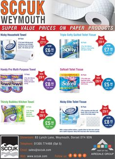 SCCUK bargain bulk buy paper products  We also stock quality janitorial & cleaning products at excellent value for money.  Pop along to our showrooms at 83 Lynch lane, Weymouth, Dorset DT4 9DN  We are open to the general public. No account required to purchase.  FREE delivery in the local area  Tel: 01305 774488 (Opt 5)